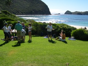 Group barbecue supplied by Pinetrees at Ned's beach