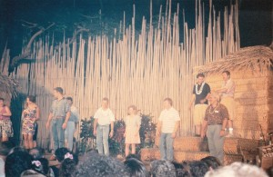 """Polynesian Cultural centre """"Wee Andy"""" on stage with David Pearce and Jim McNevin"""