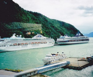 SKAGWAY PORT CRUISE SHIPS LINED UP INCLUDING OURS THE ZANDAAM
