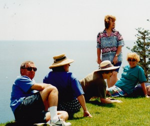 Educational to Norfolk Island tour escort Maree McClelland, 2nd left  Ray Livingstone left pic.