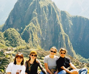The 4 Adventure World girls at Machu Picchu, Nia Carras, Angela Smyth  Kirsten Dorman & Caraolina Oriani