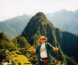 An elated, euphoric me at Machu Picchu! On top of the world.
