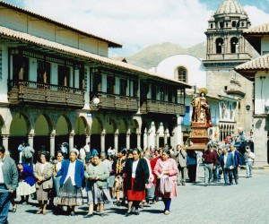 Procession with the statue of the Virgin Mary through the streets of Cuzco