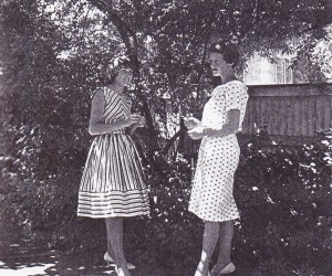 GFS girls Carol Booth and Doone Cookes - modelling in garden