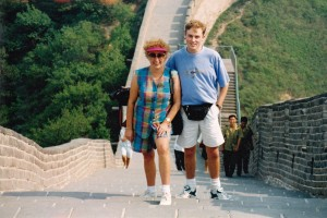 On the Great Wall of China with tour host Ron Berry QF Holidays
