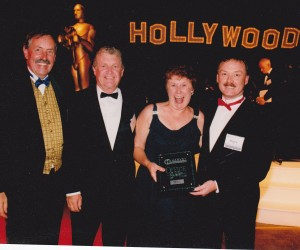 John and Colleen with Paul Fleming and Bruce Russ the year we won 'Office of the Year' at Harvey World Travel Ball Sydney