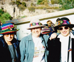 Pierina, Pauline and myself in our Peruvian hats, beautifully made, at Machu Picchu station