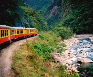 Quaint little train from Cuzco to Machu Picchu following the river and the 5 day Incan walking trail.