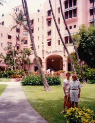 Adam and I in front of the Pink Palace Hawaii on the way home