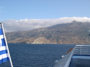 Ferry between Andros and Tinos where this hymn came to me by divine inspiration you might say