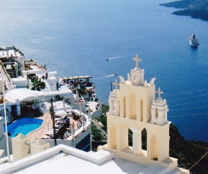 """Beautiful Oia at Santorini, 'for whom the bells toll""""."""