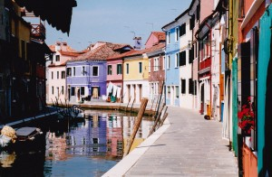 The lovely island of Burano with its colored homes