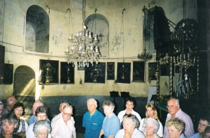 Group inside Church of the Nativity Bethlehem