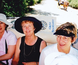 Carriage rides at Murillo Gardens Seville. Kathy, Fay Amos and Sandra Hughes