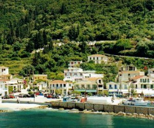 Cephalonia Sami Beach where the ferries come and go to Ithaki and mainland