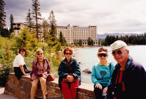 At Chateau Lake Louise where group stayed, Lola, Betty, Mr&Mrs.Robson