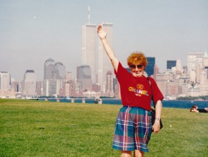 At the Statue of Liberty reaching up to World Trade centre buildings 1992