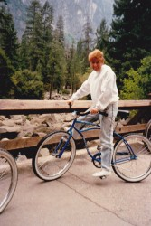 Me riding a bicycle around Yosemite National Park (looked easy then, don't know about now!)