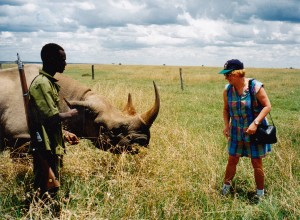 Colleen 'Up close and personal' with Sweetwaters Rhino
