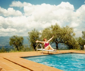 Colleen at Villa la Forra pool looking over the Valdarno Valley Tuscany