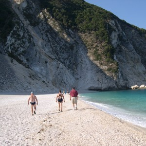 Paul, Noeline and John on Myrtos beach