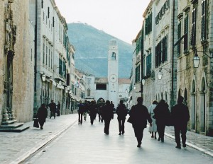 Streets of Dubrovnik toward Orlando's column