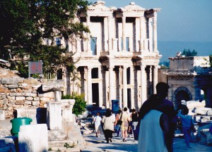 Celsus Library facade at Ephesus on our first visit with Michelle chasing up the group