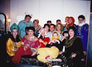 Group dressed up for Galabea party on board the Serenade