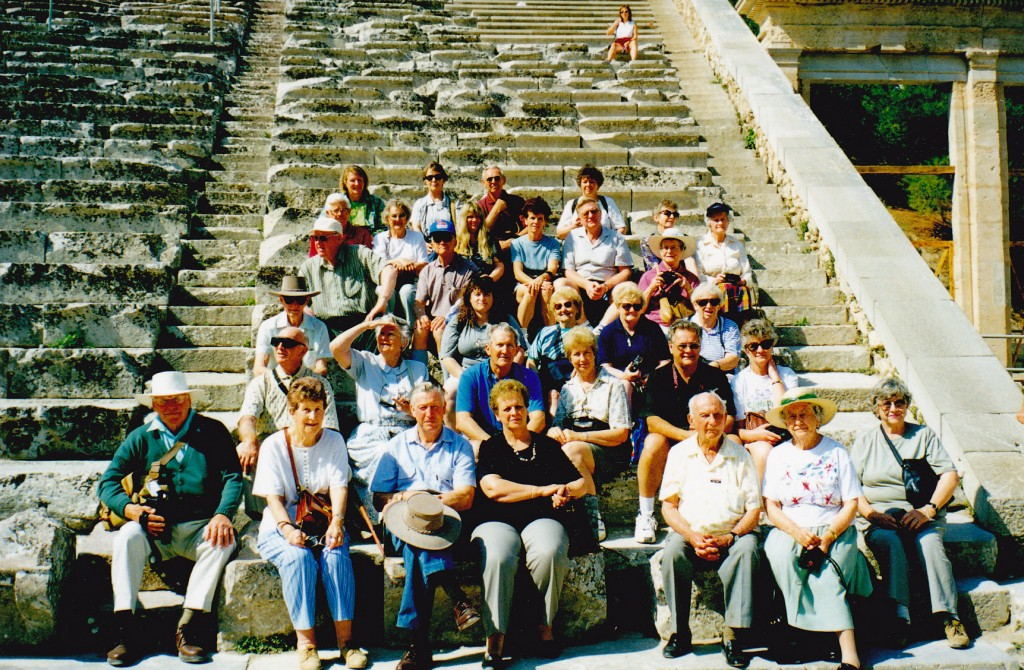 Group at Epidavrus amphitheatre with fantastic acoustic sound