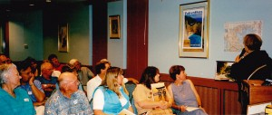 Group at Cowra Services Club hearing Michelle launch our new brochure and speak of the planned group tour