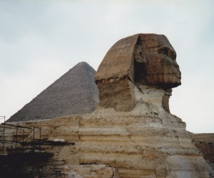 Sphinx in front of Giza pyramid