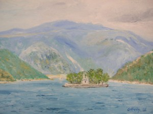 My painting of Ithaca as you sail into Vathy, quite a spectacular setting