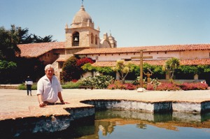 John in Munras courtyard at Carmel Mission