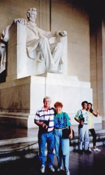 John and me in front of the Lincoln memorial Washington