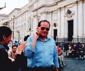 John Lowther with Trafalgar Guide Barbara at Piazza Navona