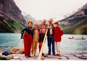At Lake Louise with hornblower Bettty, Lola & Colleen and Ted Smith