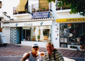 Liz and John at her Hat Shop Marbella Spain