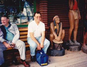 Lyall Amos and David Bigg and native friend at Capilano bridge
