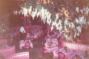 Madonna Inn kitsch dining room, similar theme throughout the whole hotel. There is only one hotel like it anywhere in the world