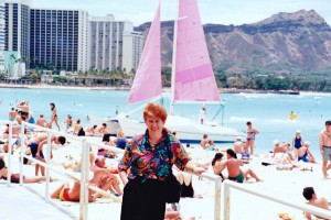 Colleen checking out Hawaii on way to mainland America