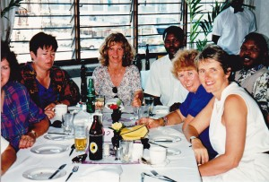 African Wildlife Safaris tour leader Susan Nash with our local guides at lunch in Mombasa