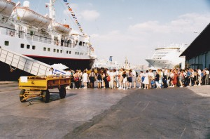 "Embarkation of group on the ""Stella Oceanis"""