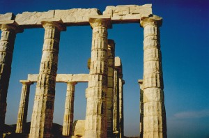 Temple of Poseidon at Cape Sounion where Lord Byron carved his initials