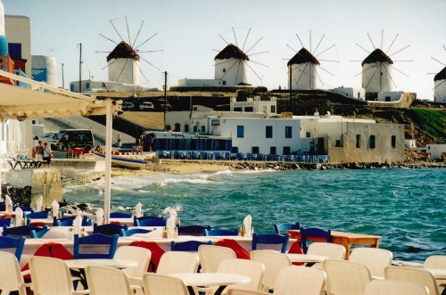 The windmills at Mykonos from 'little Venice'