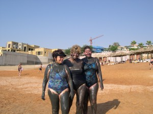 Maureen, Liz & Julie covered with Dead Sea purifying mud