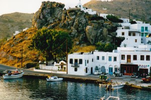 Port of Patmos - road leading to the Monastery of St John
