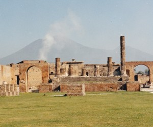 POMPEII WITH MT VERSUVIUS IN THE BACKGROUND, MAYBE ERUPTING