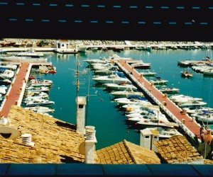 PUERTO BANUS MARINA THROUGH SHADES AT LIZ'S APARTMENT I like these shades they have in Europe just let a little light inside