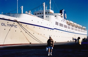 John in front of Royal Olympic cruise to Greek Islands 1996