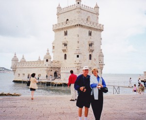Belem Tower Lisbon Portugal, John & Sandra (my bridesmaid)